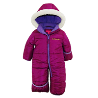 Pink Platinum One Piece Snow Suit Stroller Warm Snug Winter Fall Spring Cold Weather Baby Puffer Pram Bunting Plum Soft Polyester Zipper Closure Machine Wash Long Sleeve Fold Over Hands Feet Water Resistant Windproof Fully Insulated Extra Cozy