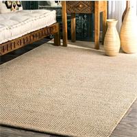 NuLOOM Hand Woven Cotton Area rug Variety Size Soothing Natural Color Casual Solid Beige India Contemporary Stripe Casual Design Affordability