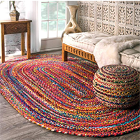 NuLOOM Hand Braided Bohemian Cotton Oval Rug Area Bright Colorful India Authentic Multi Blue Ivory Quality Material Technology Style Living Room Bedroom High Traffic