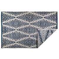 DII Indoor Flatweave Cotton Reversible Area Rug Bedroom Soft Bare Toes Handloomed Yarn Dyed Yarn Navy Diamond Blue Living Room Kitchen Grey Lattice Variegated Chic Pattern Variable Color Trend Style Machine Wash Home Décor
