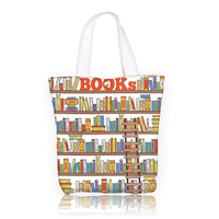 Bookshelf With Ladder Canvas Tote Bag Shopping Book Library Grocery School Education College Campus Life Caricature Multi Color Zipper Closure Shoulder Student Nylon Strong Water Resistant Trendy Design
