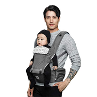 Pognae Outdoor Indoor Organic Baby Carrier Hipseat Front Back Town Grey Waist Belt Non-slip Silicone Support Dual Lock Zip Pocket Minimal Design Eco-friendly Sensitive Skin Cotton Strong Support Functional Ergonomic Comfortable Infant Toddler Bamboo