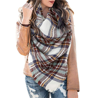Febia Plaid Cashmere Feel Shawl Chunky Classic Look Super Soft Blanket Scarf Winter Fall Spring Warm Tartan Wrap Over-sized Poncho All Day Evening Versatile Casual Holiday Outdoor Camping Fashion Style