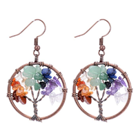 Sedmart Tree of Life Drop Earrings Promote Beauty Health Good Luck Healing Crystal Gemstone Amethyst Rose Chakra Jewelry Silver Copper Round Handmade Gift Best Friend Significant Other Professional Design Quality Black Velvet Bag Knowledge Philosophy Birthday