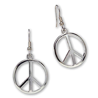 Real Metal Hippie Peace Sign Drop Dangle Earrings Love Polished Silver Finish Pewter Steel Fish Hook High Grade Wire Hand Crafted Teenager 1960s Festival Gift Her Friend Travel