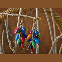 BeadforLife Paper Bead Cluster Masana Earrings Fair Trade Colorful Uganda Jewelry Africa Sunshine Culture Brighten World Cause Lightweight Gift Evening Celebration Summer Travel