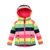 Hiheart Girls Fleece Jackets Striped Outwear Rainbow Hooded Windproof Jacket