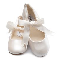 Olivia K Ballerina Mary Jane Flat Ribbon Tie Shoes Beautiful Ballet Pumps Metallic Gold Satin White Faux Leather Manmade Fashion Elegant Style Cushion Sole Dance Wedding Flower Girl Formal Occasion Birthday Gift Special Baptism Party Dress Christmas Outfit