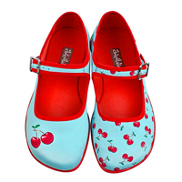 Hot Chocolate Design Cherry Mary Jane Flat Shoes Comfy Cushion Inner Sole Vibrant Color Quality Print Unique Cloth Fabric Spring Summer Quirky Fashion Fall Occasion Celebration Gift