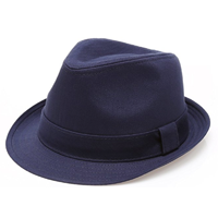 Mirmaru Classic Cotton Fedora Trilby Hat Band Twill Short Brim Navy Black White Khaki Quality Casual Formal Travel Holiday Vacation Gift Women Men Style Spring Summer Fall