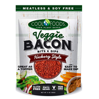 Cool Foods Veggie Bacon Bits Dips Hickory Style Missed Flavor Vegan Topper Vegi Plant Based Soy Gluten Free Non-GMO Pinto Bean Salad Pizza Baked Potato Sandwich Pancake Sunflower Oil Salt Yeast Extract Natural Vitamin Simply Add Hot Water Crunch Lunch Dinner Kitchen Tasty Healthy Meatless Dried