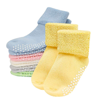 Mossio Anti-slip Anti-skid Cotton Socks 6 Pack Baby Infant Thick Unisex Grip Nylon Spandex Classic Cuff Design Ankle Soft Comfortable Stretchy Breathable Fun Bright Colors