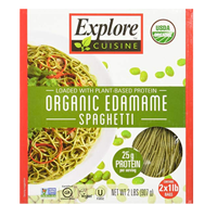 Explore Cuisine Asian Organic Edamame Spaghetti Naturally High Protein Fiber Iron Alternative Tasty Substitute Traditional Pasta Soy Bean Plant Based Vegan Kosher Certified Gluten Free Delicious Green Tasty Fusion