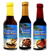 Coconut Secret Aminos Teryaki Sauce Garlic Delicious Sugar Asian Style Recipe Cooking Stir Fry Store Cupboard Marinade Healthy Low Glycaemic Diabetic Certified Gluten Soy MSG Free Non-GMO Vegan Paleo Natural Nutrients Enzymes Mineral Rich Sea Salt Flavor Taste Authentic