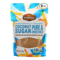 Madhava Pure Unrefined Coconut Sugar Pack Sustainable Grown Harvest Natural Sweet Organic Resealable Package Kosher Non GMO Gluten Free Vitamin Mineral Magnesium Potassium Zinc Iron Amino Acid Blossom