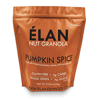 Elan Pumpkin Spice Nut Granola Paleo Style Loaded Nutrient Dense Delicious Snack Low Carb Dessert Healthy Organic Cereal Seasonal Fall Treat Pecan Walnut Hazelnut Sweet Potato Cashew Super Natural Ingredients Gluten Free Non GMO Vitamin Minerals Soy Dairy Low Glycemic Holiday Quality Convenient