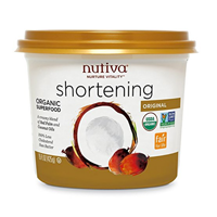 Nutiva Organic Certified Red Palm Coconut Shortening Golden Color Nutrient Rich Non-GMO Non-hydrogenated Naturally Extracted Dense Rich Source Healthy Fat Anti-oxidant Beta-carotene Vitamin Whole Food Diet Baking Kitchen Pastries Family Farm Responsible Harvest Orangutan Friendly No Deforestation Recyclable Container