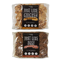Just Like Chicken Beef Textured Vegetable Protein Quick Easy Prepare Hydrate Minutes Non GMO Soy Gluten Free Natural Premium Grade Ingredients High Potassium Fiber Vitamins Minerals Calcium Iron Low Long Shelf Life Versatile Carbs