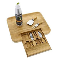 Greener Chef Bamboo Cheese Board Knife Set Elegant Accompaniment Course Gift Wedding Birthday Christmas Mom Housewarming Wood Meat Platter Charcuterie Exclusive Conditioning Oil Spray Design Natural Eco-friendly Protect Conditon