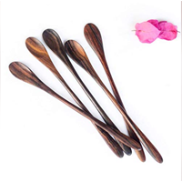 Bali Harvest Set Five Long Handmade Wooden Spoon Beautiful Serving Rosewood Eco-friendly Juice Stirrer Coffee Tea Cocktail Vegan Gift Natural Finish Wedding Home Housewarming