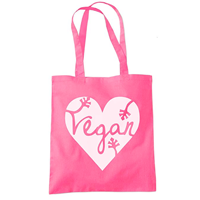 Vegan Heart - Vegan Gift Food - Tote Shopper Fashion Bag Perfect use as a reusable shopping bag. Or use as an overnight satchel when staying with friends