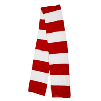 Simplicity Long Warm Stripe Scarf Bold Red White Simple Statement Winter Fall Spring Cold Weather Gift Acrylic Ultra Soft Insulating Fleece Multiple Combination Christmas Hannukah Teenager Man Woman Snow Weather