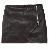 skirt BlankNYC Vegan Leather Mini Faux Leather Big Girls Skirt Rock Chick Polyurethane Viscose Zipper Crossover Detail