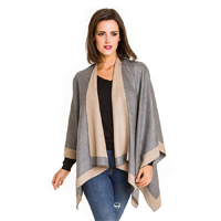 Melifluous Design Spain Poncho Cape Shawl Scarf Bamboo Viscose Feel Wear Soft Cashmere Wrap Sweater Cold Winter Coat Cardigan Two Color Generous Size Workmanship Quality Practical Elegant Style Evening Occasion Party Indoor Outdoor Gift Fall Spring