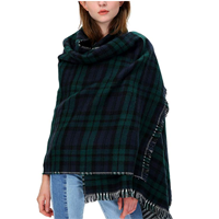 Urban CoCo Paid Tartan Winter Scarf Blanket Shawl Celtic Comfort Soft Check Wrap Knit Cape Tassel Classic Pattern Fashion Casual Formal Fall Spring Warm Indoor Outdoor Reversible Comfortable Trimmed Day Evening Gift Family Friend Birthday Christmas Hannuakah